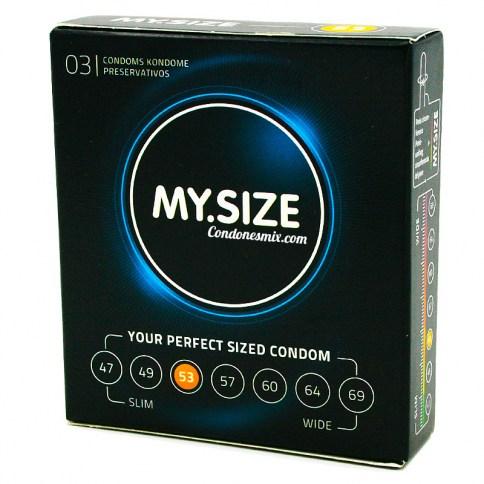 MySize Marca de preservativos My.Size, 53 tamaños diferentes para más comodidad. Preservativo de forma recta, para mayor ajuste. Talla 53 caja 03 uds