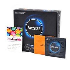 MySize Condón con forma Recta para buscar un ajuste perfecto. La talla 57 se considera talla grande, si la talla 53 te aprieta. Talla 57 caja 36 uds