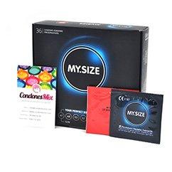MySize Preservativos de Forma Recta para que se ajusten mayor a ti, busca entre los 7 tamaños diferentes para más comodidad. Talla 60 Talla 60 caja 36 uds