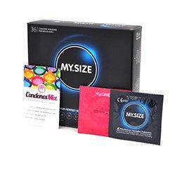 MySize Condón tamaño XL. De talla grande, más anchos para aquellos que buscan mayor amplitud. Talla 64 Talla 64 caja 36 uds