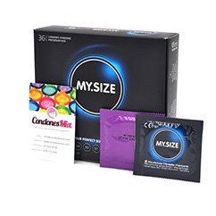 MySize El condón más grande de todos, con 69 mm de ancho, lo convierte en el preservativo XXL. De forma recta. Talla 69 caja 36 uds