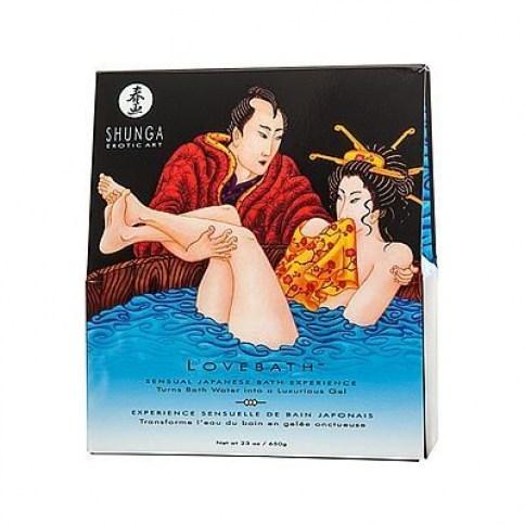 Shunga Producto para crear un gel de baño espumoso y agradable con propiedades curativas y terapéuticas. Aroma a Tentaciones del océano. Love Bath Ocean Temptation