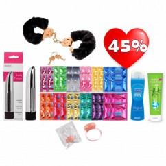 CM Pack Pro Durex y Co, 50 preservativos , anillo vibrador, vibrador bala 11,5,esposas y 2 lubricantes a precio regalado. Kit Love Pro Durex y Co. #2