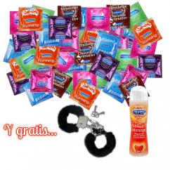 CM 80 preservativos Durex(30) y Pasante(50) + 1 lubricante DUREX y unas esposas metálicas forradas ultra resistentes... Pack 80 condones y gratis esposas y lubricante