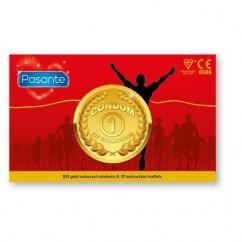 Pasante Los condones Medalla de Oro proporcionan a tus relaciones una nueva aventura para campeones. Preservativos color Dorado. Condones de Oro 100 uds