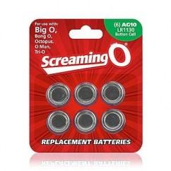 Screaming O 6 pilas de repuesto AG10 LR1130, para anillos vibradores que utilicen estas pilas. Pilas AG-10