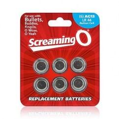 Screaming O 6 Pilas de recambio para anillos vibradores que usan Ag13 LR44, pila de botón. Pilas AG-13