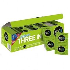 EXS Condón texturizado, sus estrías y puntos colocadas por todo el condón estimularán a ambos. Forma Anatómica. Extreme tres en uno 144 uds