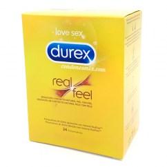 Durex Preservativo para los alérgicos al látex. Fabricados con poliuretano, sensibilidad piel con piel. Material más elástico que el látex, que permite tener mejores grosores. Real Feel 24 uds