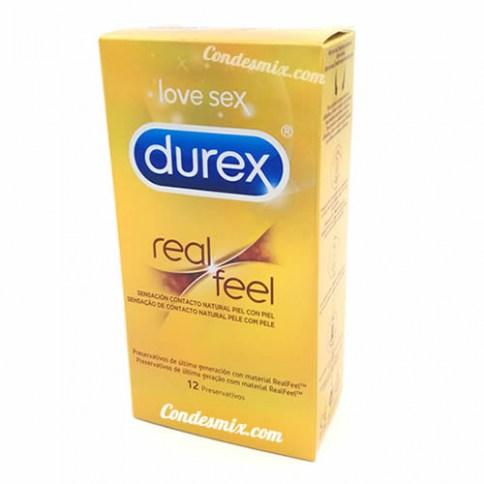 Durex Condones sin látex con forma anatómica, más resistentes al condón tradicional gracias a su material que es más elástico. Perfecto para los alérgicos al látex. Real Feel 12 uds