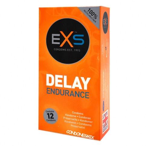 EXS El condón de efecto retardante más utilizado, ahora también con textura estriada y punteada. Retardante Delay