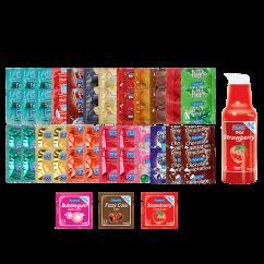 CM 48 condones de todos los sabores que te habías imaginado, 3 mono dosis de sabores y 1 lubricante de sabor fresa. Condones de sabores y lubricante