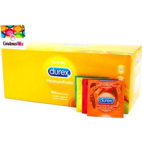 Durex Condones de sabores y colores variados. Fresa, plátano, naranja y manzana. Agradables aromas de Durex. PleasureFruits 144 uds