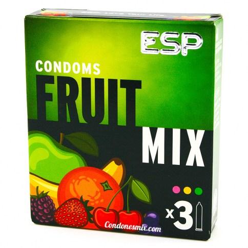ESP Condones de colores y sabores variados, con forma recta para mayor ajuste. Agradable gusto a cereza, naranja y tutti fruti. Fruit Mix 3 uds
