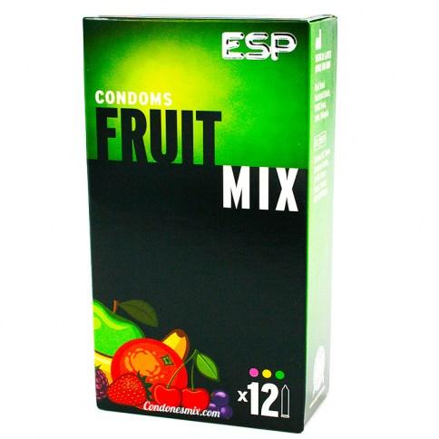 ESP Condones ESP, multi frutas de diferentes colores y sabores, con forma recta y totalmente lisos. Fruit Mix 12 Uds