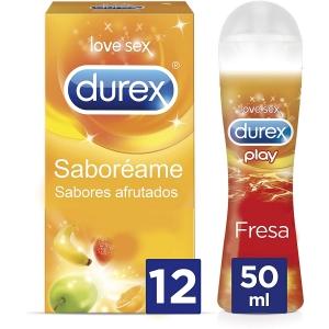 Preservativos Sabores Durex Saboreame 12 Condones Sabores + Lubricante Sexual Sabor Fresa 0
