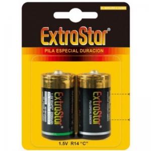 Extrastar Pilas Larga Duracion 1.5 V R14 C 0