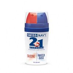 Swiss Navy Combina 2 tipos de lubricante. Híbrido entre silicona y acuoso, envases de 25 ml respectivamente. 2 en 1 Silicona/Agua