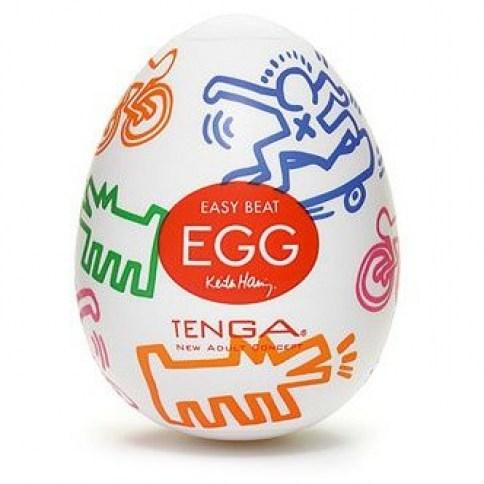 Tenga Huevo masturbador tenga edición especial diseñada por Keith Haring. Formato transparentes, para ver y notar las formas. Tenga Egg Keith Haring Street