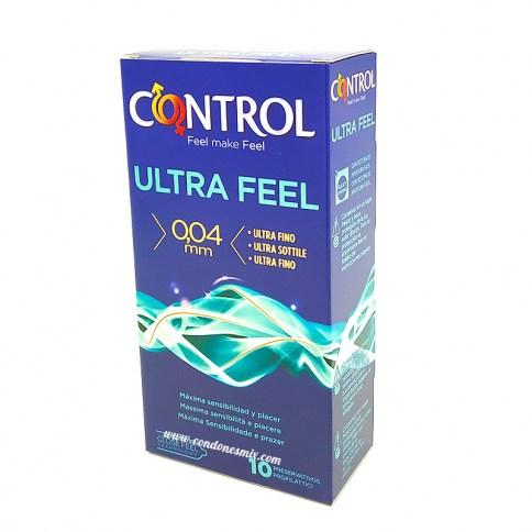 Control El más fino de la gama Control. Condones ultrafinos, liso, paredes paralelas, transparente, lubricando y con depósito. Ultra Feel 10 uds