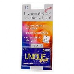 DA Preservativo sin látex, mucho más fino, transparente, estuches de 3 unidades, doble resistencia. Unique sin Látex