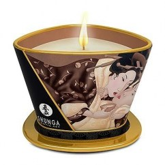 Shunga Vela con aroma a dulce y auténtico Chocolate. Fórmula mejora con ingredientes totalmente naturales. Duración hasta de 40 horas encendida. Vela Excitacion 170 ml