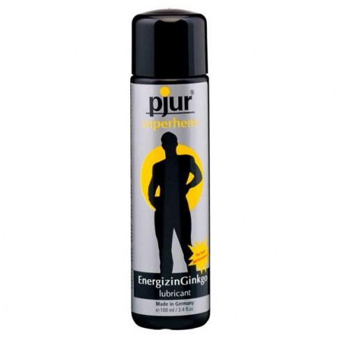 Pjur Lubricante de fórmula ecológica a base de agua con ginkgo, produciendo un efecto vigorizante. Superhero Lubricante 100 ml.