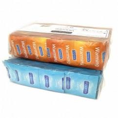 Pasante Forma Recta. Condones estriados con la mitad de la caja efecto frío y la otra mitad calor. Condones con textura y efectos que intensificarán el placer para ambos. Estriados Calor + Frío 144 uds